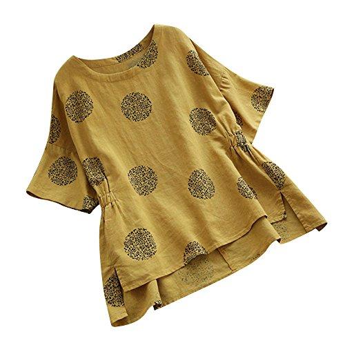 VEMOW Sommer Herbst Elegante Damen Plus Größe Dot Print Lose Baumwolle Casual Täglichen Party Strandurlaub Kurzarm Shirt Vintage Bluse Pulli(Gelb, EU-40/CN-L)