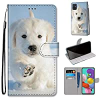 Mylne Full Body Case for Samsung Galaxy A51,Colorful Pattern Design PU Leather Flip Wallet Case Cover with Magnetic Closure Stand Card Slot,Snow Dog