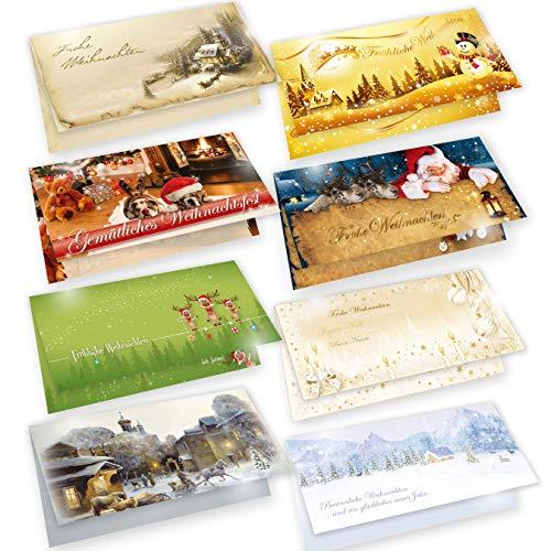 Weihnachtskarten Set mit Umschlägen, 8 Motive je 2 Karten, Frohe Weihnachten - Klappkarten für Weihnachtsgrüße