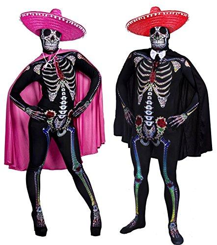 ILOVEFANCYDRESS - Costume in maschera per coppia da Halloween, 2 tute attillate unisex, con sombrero messicani e mantelli, taglie: S-XL, colore: rosa/rosso, motivo: scheletro