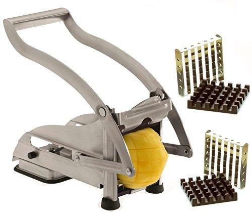 Pommes Frites Schneider Set aus Edelstahl Mit Saugfuß und 2 Extra Scharfen Klingen- Für dünne oder größere Pommes, Fritten-schneider Gemüse-schneider Eignet sich für andere Gemüsesorten