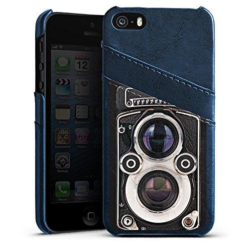 Apple iPhone 5 Housse étui coque protection Caméra Photographie Rétro Étui en cuir bleu marine