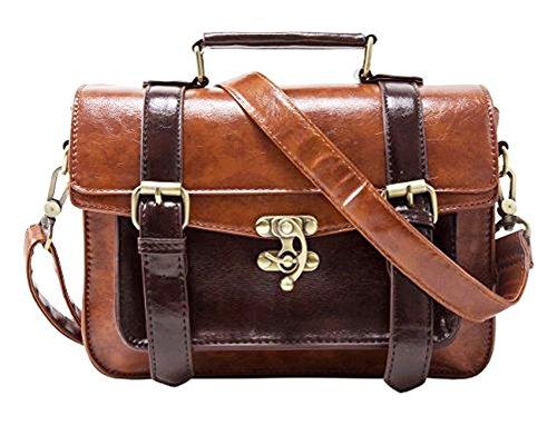 Whoinshop Women's Vintage Synthetic Leather Satchel Bag Messenger Bag Briefcase