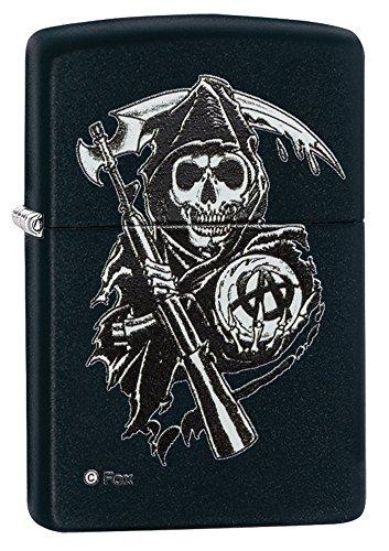 For Sons of Anarchy fans, Reaper black mattenpocket lighter.