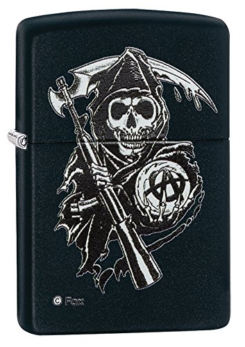 Zippo-Sons-of-Anarchy-Encendedor-de-cocina-Negro-Color-blanco