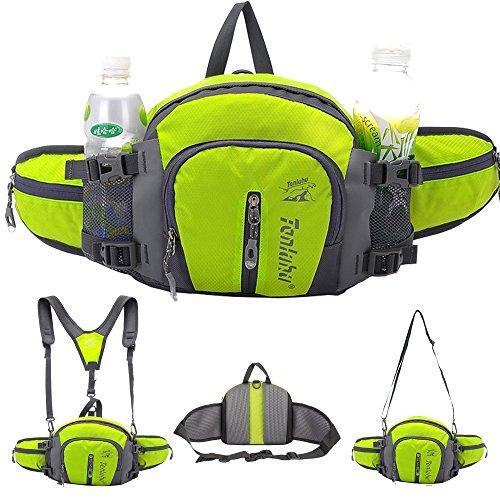SINOKAL Marsupio Multifunzione Stile Militare in Tela Resistente all'Acqua Marsupio con Porta Bottiglie a Acqua per Corsa Escursionismo Bici Arrampicata Campeggio Viaggio (Verde)