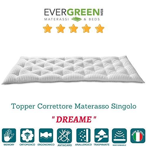 EvergreenWeb–Futon Matratze Einzelbett, gesteppt Stoff bequem und kuschelig, tolles Unterbettkommode, oder wie praktisch Topper Matratze. Geeignet für alle Verwendungen. COL. Weiß–pillowt