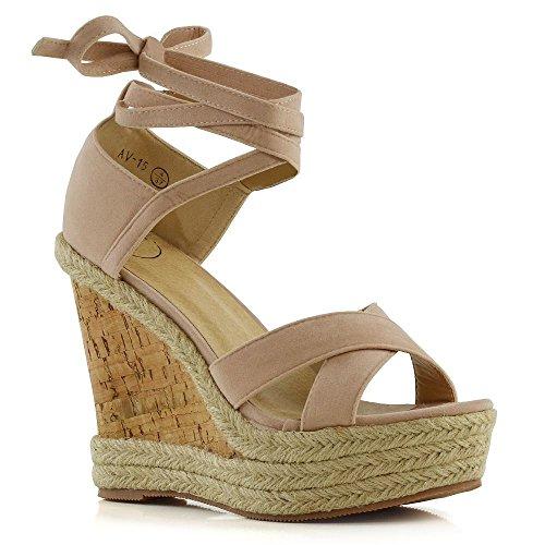 Leder Wrap-around-sandalen (ESSEX GLAM Damen Plattform Keilabsatz Sandalen Frau Hautfarbe Wildlederimitat Schnüren Sommer Espadrilles Schuhe EU 36)