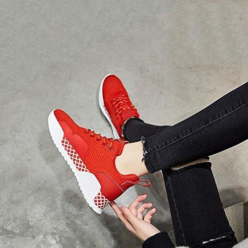 PENGFEI Stivaletti Scarpe Sportive Primavera E Autunno Tempo Libero A Fondo Piatto Da Donna Alunno 2 Colori ( Colore : Nero , dimensioni : EU38/UK5.5/L:240mm ) Rosso