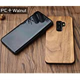 Samsung Galaxy S9 Plus Wood Case - Coco Laser Carving Marked Galaxy S9 Plus Wooden Case with Durable Polycarbonate Bumper Slim Covering Case 2018 Released - Walnut (S9 Plus)
