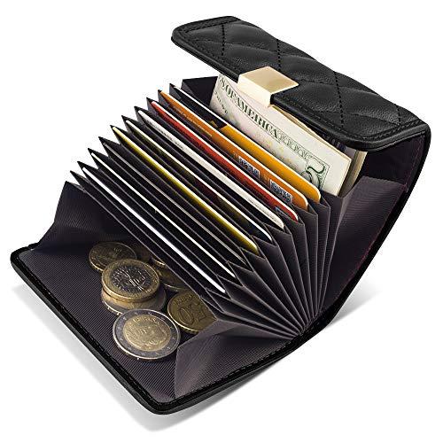 BAGZY Echtleder Kartenetui Geldbörse Klein Portmonee RFID Schutz Taschen Kartenhalter Brieftasche Visitenkartenetui Purse Wallet Credit Holder Ausweis mit 12 Fächern(Geschenk 2 STK RFID Schutzhülle)