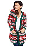 Maglioni di Maglia Donna Manica Lunga ,SheShy Cardigan stampato Maglione di Natale delle donne,Giuntura Maglione Pullover Lunga Sciolto Maglieria Tops Autunno Inverno (Verde, L=EUR 44-46)