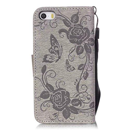 iPhone Case Cover Premium PU-Leder Tasche Cover mit Resine Rhinestone und hängenden Seil Folio Stand Case Embossing Schmetterling Blumen Brieftasche Fall für iPhone 5S SE ( Color : Deongaree , Size :  Gray