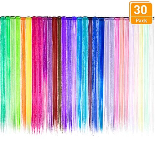 30pezzicoloratofestaclipnelleestensionideicapelli,parruccadrittalunga,accessoripercapellisinteticiresistentialcalore,21.6pollici