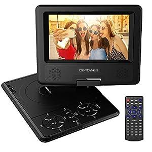 7.5'' Tragbarer DVD-Player, 5 Stunden Akku, schwenkbaren Bildschirm, unterstützt SD-Karte und USB, mit Spiele-Joystick, Auto-Ladegerät--Schwarz