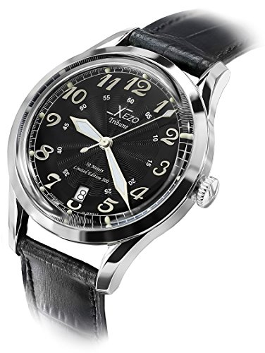 Xezo Men' s Tribune Miyota 9015 orologio automatico, 39 mm Slim case, stile vintage (Tribune retro B)