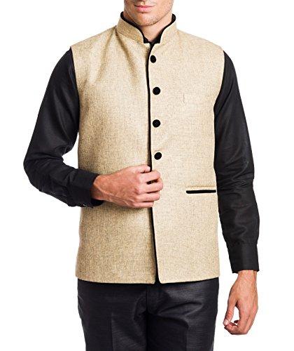 Wintage Men's Rayon Bandhgala Festive Beige Nehru Jacket Waistcoat