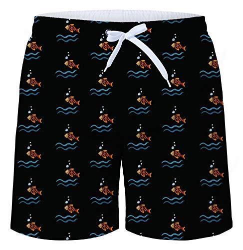 shorts Kleiner Goldfisch 3D Druck Badehose Multi Bunt Tier Muster Beach Shorts Schnelltrocknend Sommer Schwimmhose Leicht Boardshorts Männer Shorts mit Mesh-Futter Schwarz - XL ()