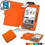 Forefront Cases® Tolino Page Shell Hülle Schutzhülle Tasche Bumper Folio Smart Case Cover Stand mit LED Licht - Leicht mit Rundum-Geräteschutz inkl. Eingabestift und Displayschutz (Orange)