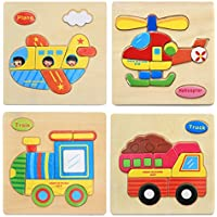 Hillento 3D Wooden Puzzles Jigsaw Educational Toys Puzzle for Toddlers Kids 1-5 years - Educational Puzzle Toys Set, Educational & Sensory Learning for Toddlers, Set of 4