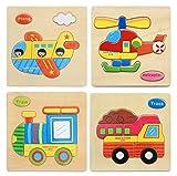 Hillento 3D Holzpuzzles Puzzle pädagogisches Spielzeug Puzzle für Kleinkinder Kinder - pädagogisches Puzzle-Spielzeug-Set, pädagogisches & sensorisches Lernen für Kleinkinder, 4er Set (Flugzeug, Hubschrauber, LKW, Zug)
