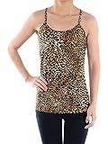 Anna-Kaci Creme Brown Gepard Leopard Druck mit rundem Halsausschnitt ärmellos Racerback Tank Top