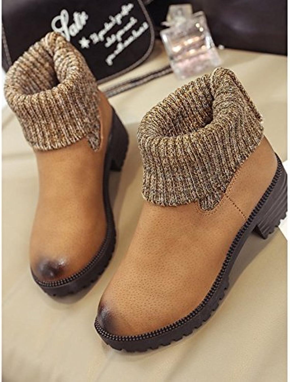 ZHZNVX HSXZ Zapatos de Mujer Invierno PU Confort Bootie Botas de Tacón Plano Ronda Toe Botines/Botines de Casual...