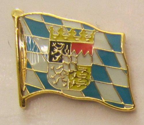 Pin Anstecker Flagge Fahne Bayern mit Löwen Wappen Raute Landesflagge Flaggenpin Badge Button Flaggen Clip Anstecknadel - Flagge Hut