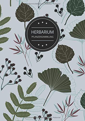 Herbarium Pflanzensammlung: Herbarium Leer A4 - Pflanzen Sammeln, Bestimmen, Aufbewahren - 110 Seiten Papier Weiß - Pflanzenbestimmung - Motiv: Blumen Blüten Muster Natur Grün Grau - Seite Sammeln