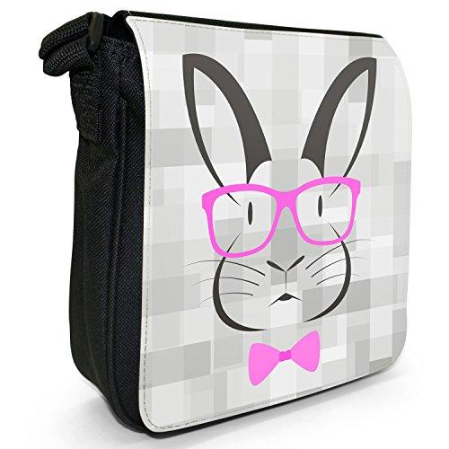 Hipster animali con fiocco, Occhiali e sacchetto di tela borsa a tracolla nero–taglia S Hipster Rabbit Pink Glasses