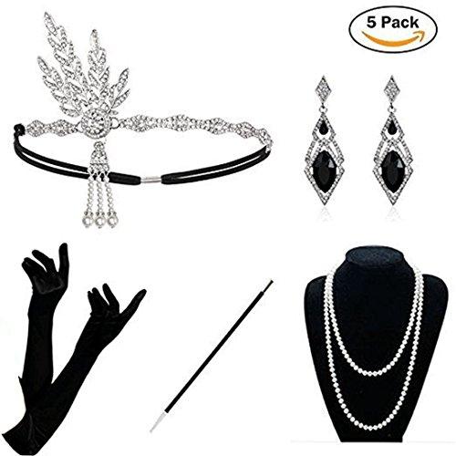 1920er Jahre Zubehör Set - 5PCS Damen Flapper Kostüm, Frauen Feder Stirnband, Satin Handschuhe, Perlenkette,Schwarzer Zigarettenspitze (20er Jahre Kostüme)