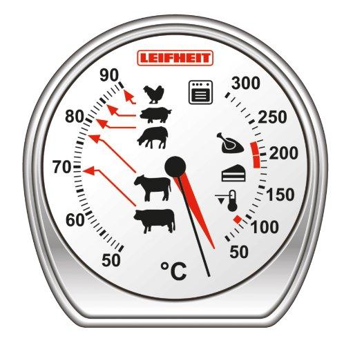 Leifheit Braten- und Ofenthermometer, kombinierte Anzeige für Ofentemperatur und Kerntemperatur auf einem Blick, Grillthermometer mit Skala für perfekte Garpunkte, spülmaschinengeeignet, Edelstahl