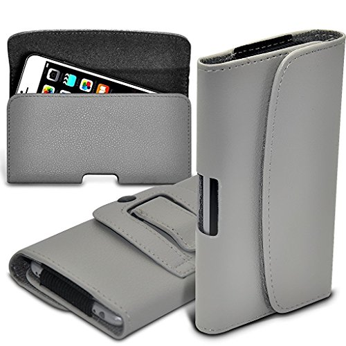 I-Sonite (Grey) Premium Horizontal Kunstleder Gürtelholster Pouch Cover mit Magnetverschluss für Alcatel Idol 5 Cricket [ XL ] (Android Cricket Cell Phones)