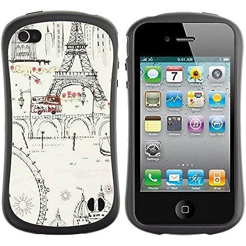 Hypernova Slim Fit Dual Layer Protettiva Custodia Caso Case Per Apple iPhone 4 / iPhone 4S [Inchiostro Ruota panoramica Torre Eifel Parigi Europa] - Torre Panoramica
