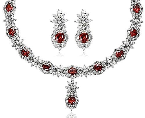 Aooaz Versilbert Damen Schmucksets Kristall Elegante Halskette Ohrringe Für Frauen Schmuck-set Rot (Zahn Trachten Ohrringe Kurze)