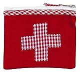 Mini-Farmacia borsina porta medicinali 13 x 11cm di cotone rosso con stampa a quadrettoni e ricamata a puntocroce 13 x 11 cm Ringelsuse