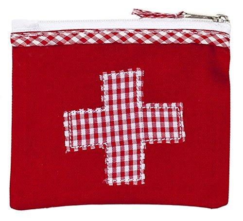 Mini-farmacia borsina porta medicinali 13 x 11cm di cotone rosso con stampa a quadrettoni e ricamata a puntocroce del marchio tedesco ringelsuse