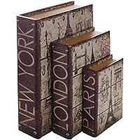 """HMF 80961 Libro Segura""""Ciudades"""" Conjunto de 3, Aspecto Antiguo, Caja de Caudales Camuflada, 32,5 x 23,5 x 7,5 cm"""