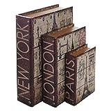 HMF 80961 Buchtresor 3er Set - Städte, Antik-Look, getarnte Geldkassette, 32,5 x 23,5 x 7,5 cm