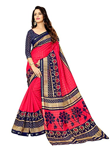 Glory Sarees Women\'s Bhagalpuri Art Silk Saree With Blouse Piece (Gloryart05_Pink And Blue)