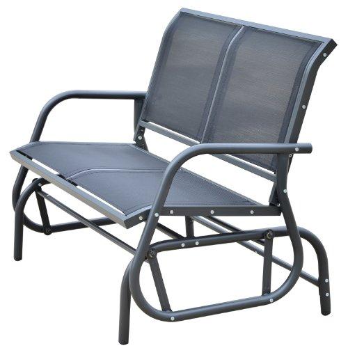 Outsunny Banc à Bascule de Jardin Design Contemporain Grand Confort accoudoirs Assise et Dossier Ergonomique Acier textilène Noir 123L x 70l x 87H cm