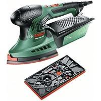 Bosch ponceuse multi PSM 200 AES (2 feuilles abrasives, plateau de ponçage rectangulaire, coffret, 200 W)