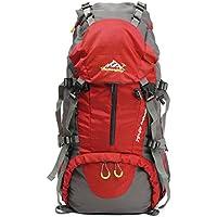 50L Escursionismo Daypacks Zaino Sport all'aria aperta zaino trekking Borse backpacking Borsa resistente all'acqua per pesca di campeggio di viaggio Arrampicata Alpinismo Ciclismo Sci (rosso)
