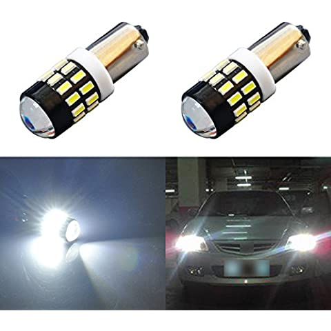 AGLINT Coche LED Luz Trasera Ba9s 3014 30 SMD FPC 12-24 voltios del coche llevó la lámpara de la matrícula con la lente Pack de