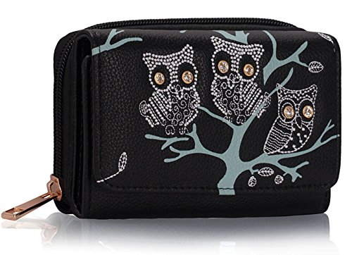 Ladies Women's Fashion Designer Owl Design Purse Wallet Coin Hot Selling Quality Faux Leather Clutch Bag CWP1045 (Black)