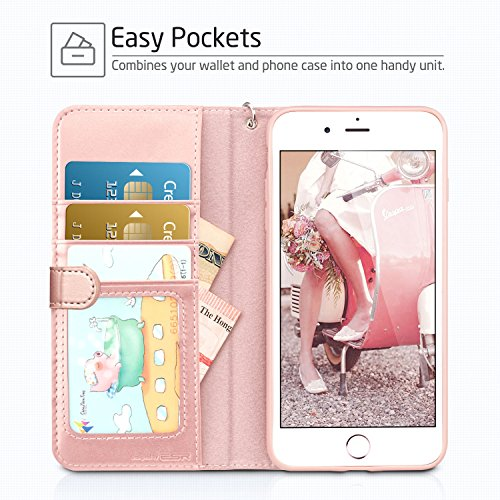 iPhone 8 Hülle, iPhone 7 Hülle, ESR Premium PU Leder Klapphülle mit Kartenfach, Vorne und Hinten Schutzhülle [Kabelloses Aufladen Unterstützung] für Apple iPhone 8/7 4.7 Zoll 2017 Freigegeben. (Rose G Rose Gold
