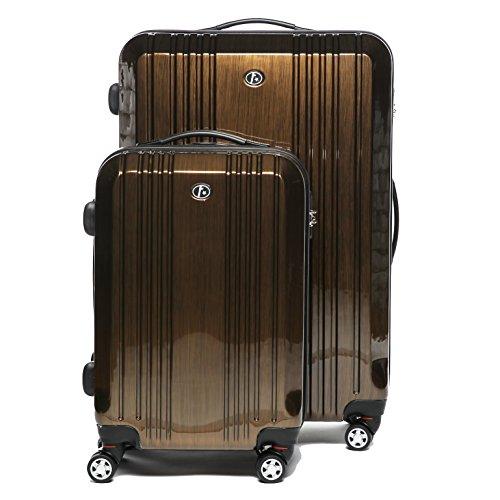 FERGÉ® Kofferset 2-teilig CANNES Handgepäck & Koffer XL 2er Trolley-Hartschalenkoffer Set 4 Rollen (360°) Hartschale braun