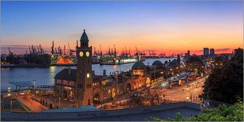 Posterlounge Acrylglasbild 120 x 60 cm: Hamburg Panorama von Frank Herrmann - Wandbild, Acryl Glasbild, Druck auf Acryl Glas Bild