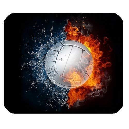 Volleyball Fire and Water Rectangle Non-Slip Rubber Gaming Mauspad Computer Mousepad 300 * 250 * 3mm
