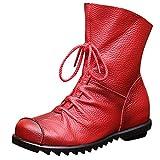 UFACE Damen Retro Lederstiefeletten Warme Lederstiefel Low Heel Stiefel Stiefel